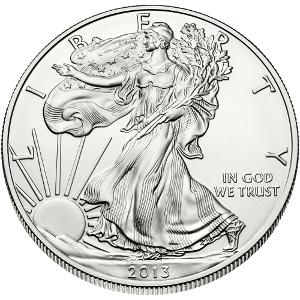 Front view of the 2013 american silver eagle bullion coin
