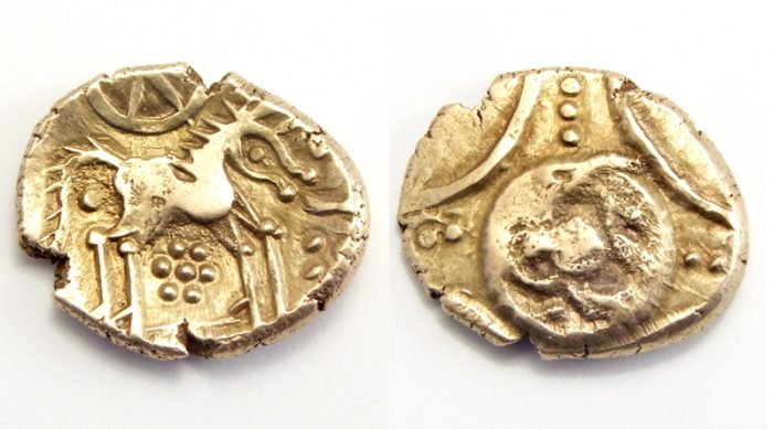 a Iceni gold stater from the 1st century CE