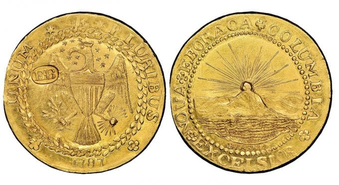 This 1787 New York-Style Brasher Doubloon, set a $9.36 million world record auction