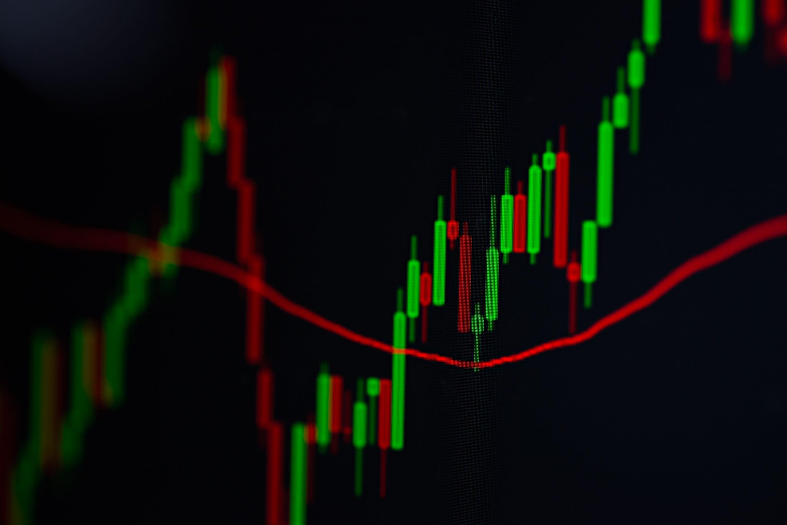stock trading graph closeup