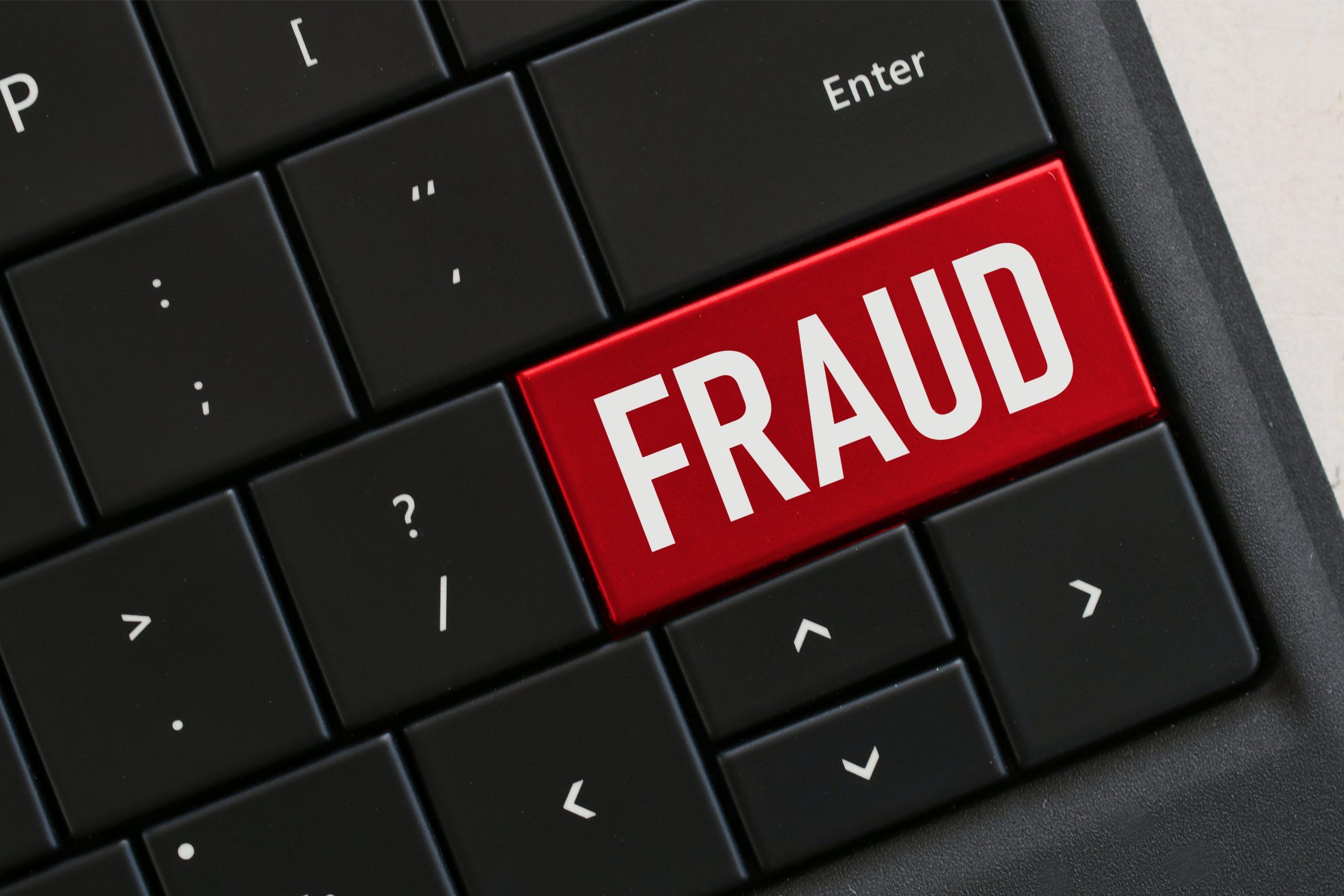 Black keyboard with red Fraud Key