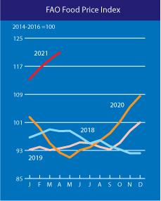 FAO Food Price Index, 2019-2021