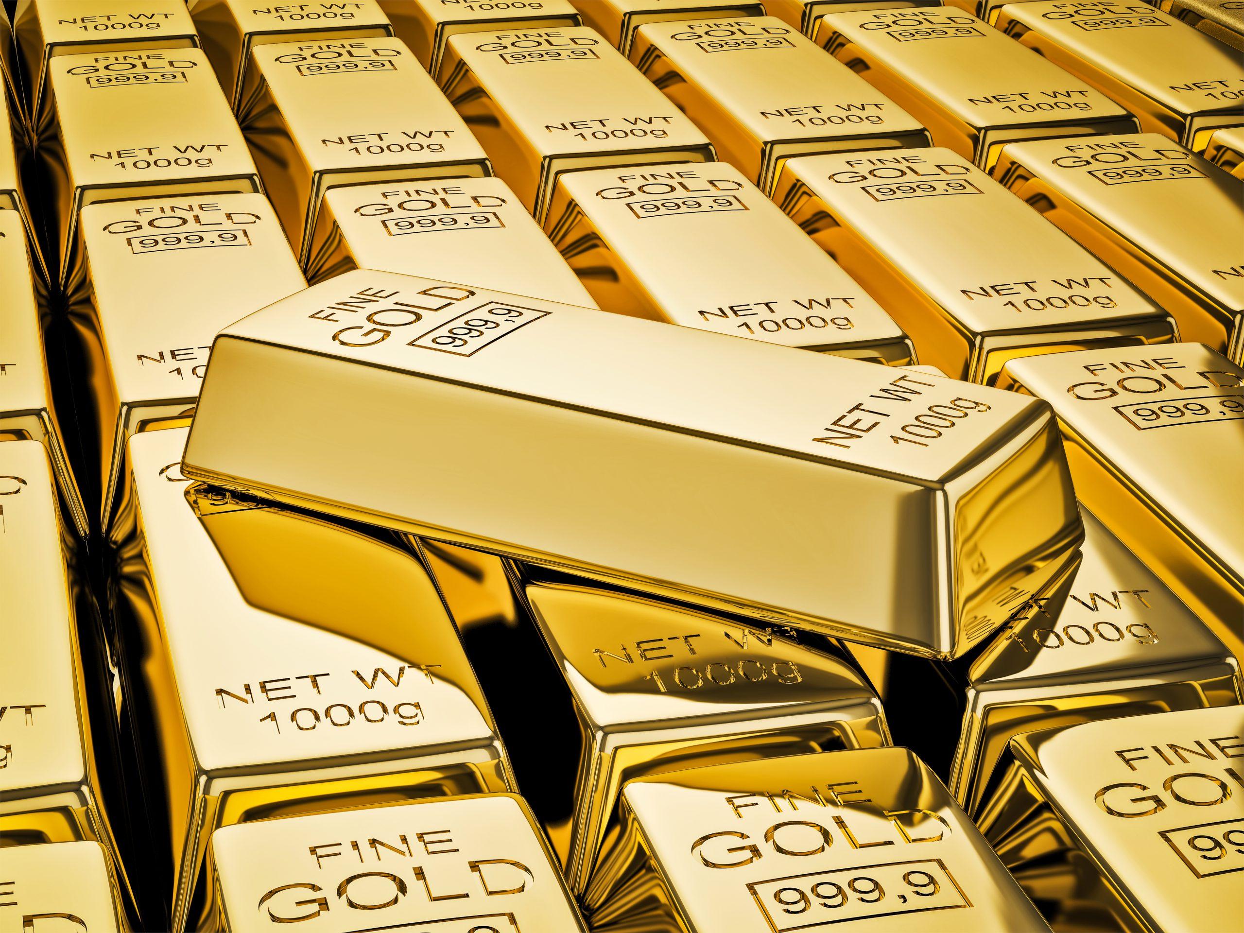 Stacks of 1 kg gold bars