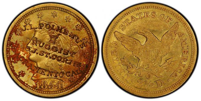 Unique 1854 New Orleans quarter eagle gold coin