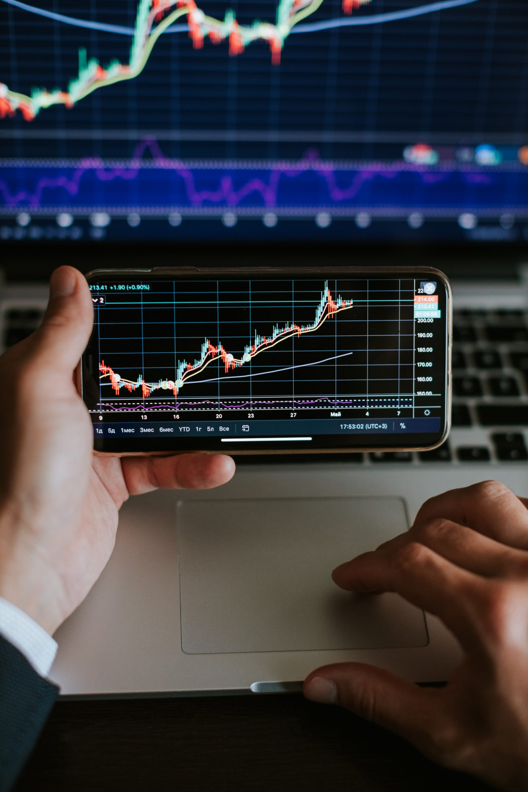 stockbroker profit analysis on trade graph with candlesticks