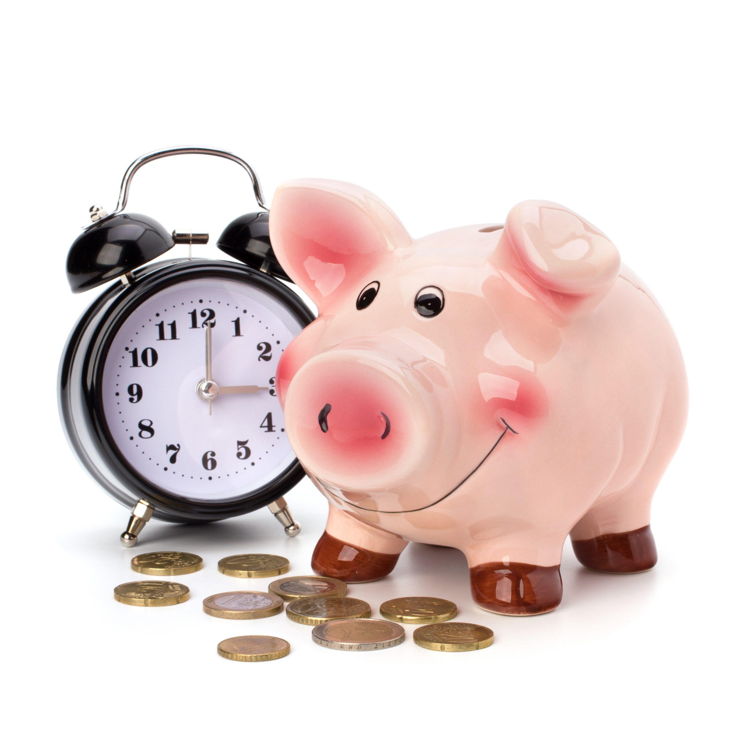 PIGGY BANK WITH CLOCK
