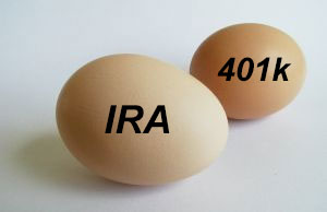 "Eggs labeled ""IRA"" and ""401k"""