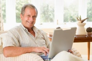 Older gentleman interested in a gold investment plan.