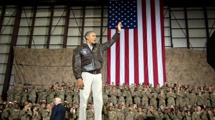 President Obama with U.S. Troops