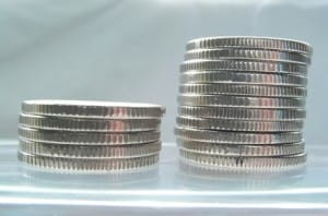 Silver Coins For Sale | Two Small Stacks of Coins