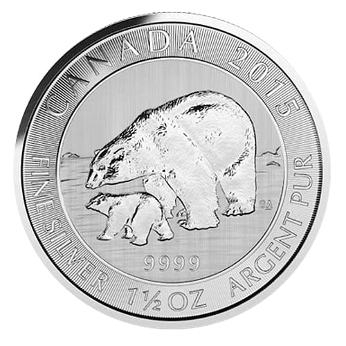 Silver Polar Bear and Cub - front