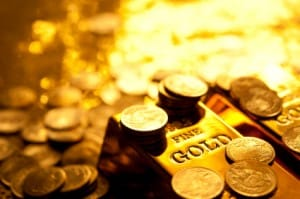 Picture of gold coins and gold bullion