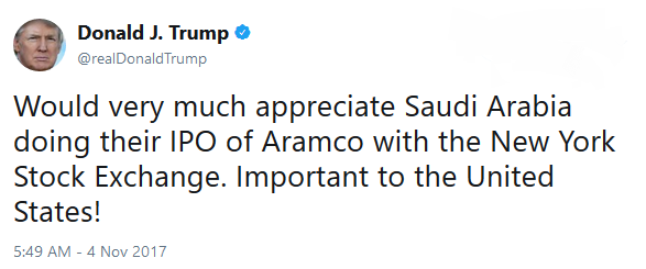 Trump tweet about Aramco
