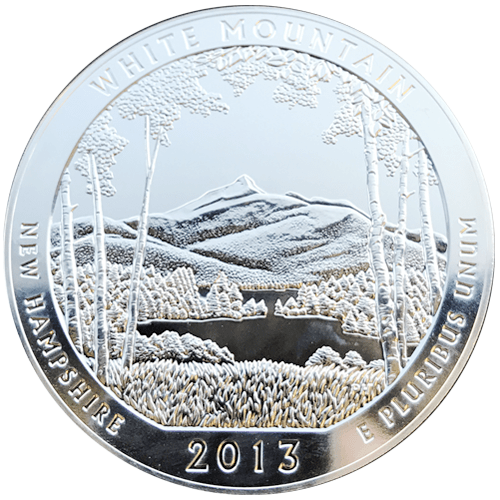 silver america the beautiful white mountain coin