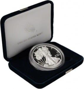proof silver american eagle velvet casing